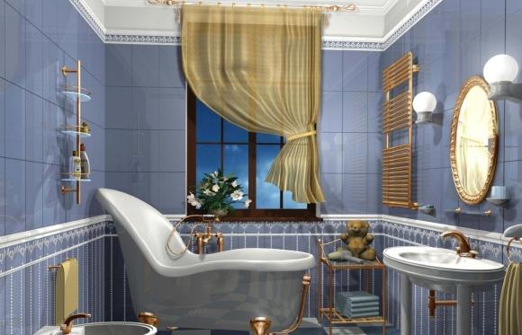 Идея ванной комнаты с туалетом под старину