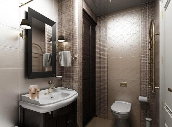 Ванная с туалетом в коричневом цвете