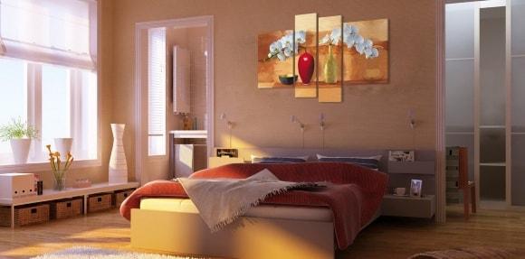 Составные картины в спальне