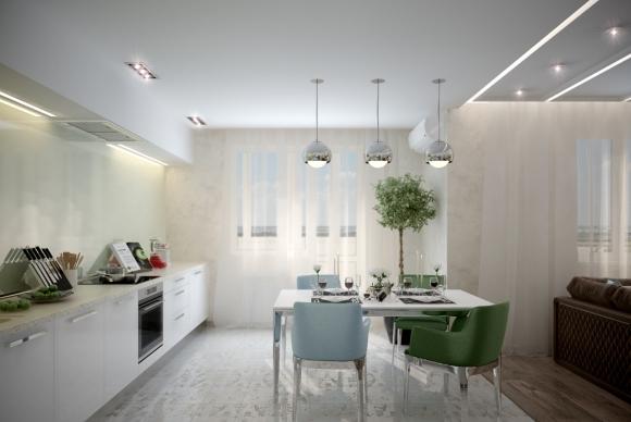 Светодиоды на потолке в кухне