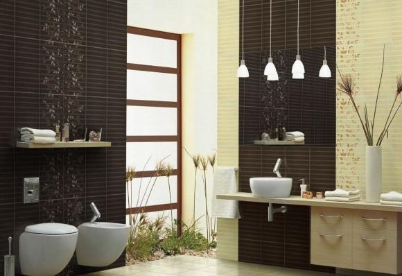 Дизайн ванной комнаты и туалета в панельном доме с плиткой фиджи