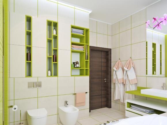 Небольшие полочки повсюду в ванной