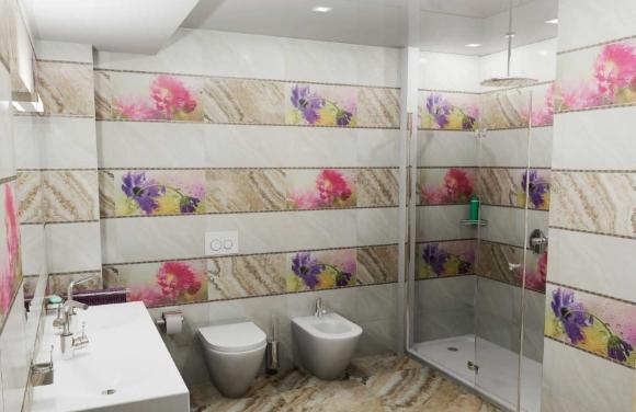 Чередование пластиковых панелей в ванной комнате