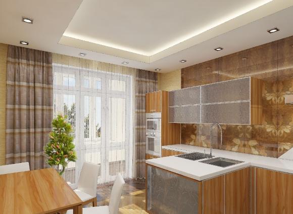 Двухуровневый потолок из гипсокартона в кухне