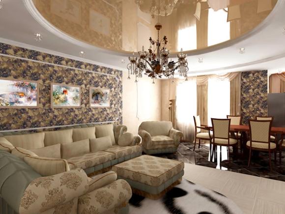 Двухуровневый потолок из гипсокартона в зале