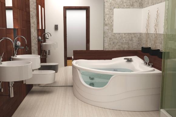 Джакузи в ванной с зеркальной стеной
