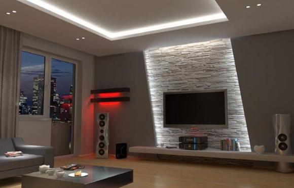 Пример дизайна двухуровневого потолка в гостиной