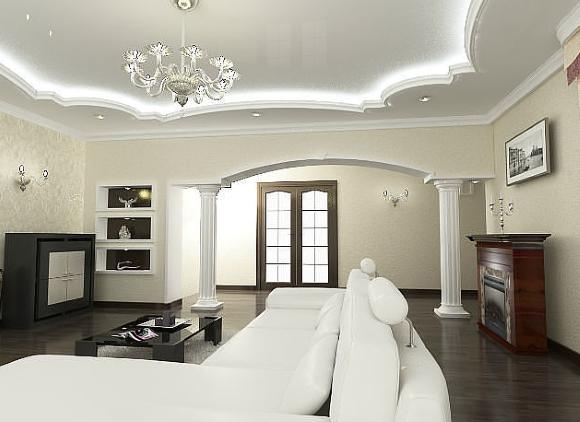 Пример дизайна двухуровневого потолка в зале