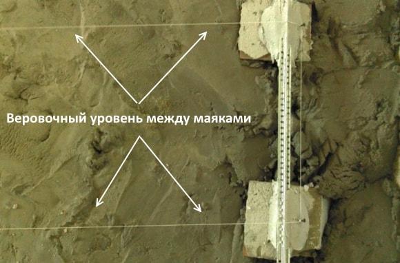 Веровочный уровень между маяками