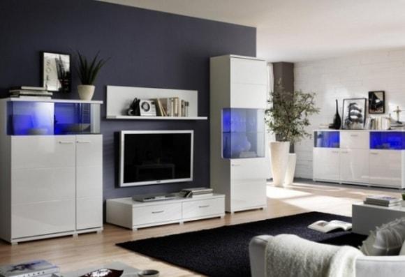 Белая модульная мебель с комодом в современном стиле для гостиной