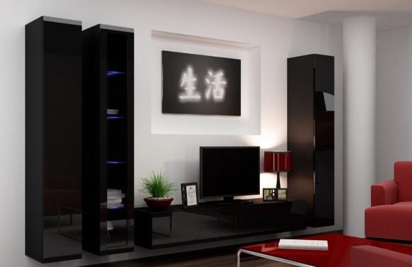 Черные глянцевые фасады модульной подвесной стенки в гостиной