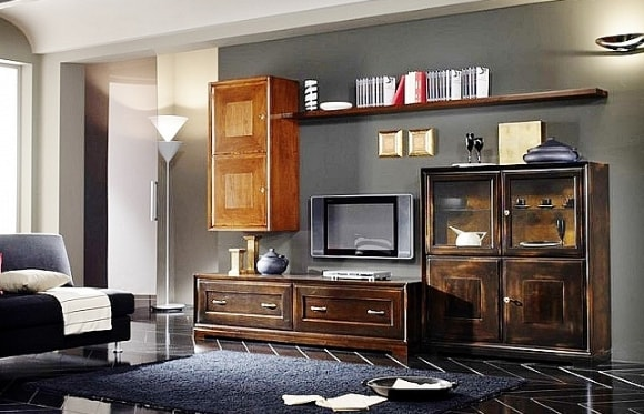 Фото современной модульной мебели для гостиной из массива дерева