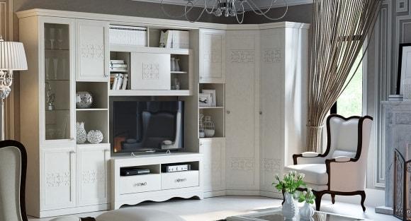 Фото современной модульной мебели для гостиной с угловым шкафом