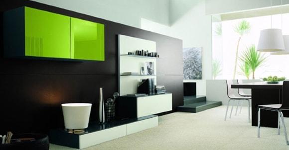 Глянцевая мебель модульной системы для современной гостиной