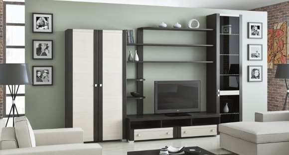 Корпусная модульная мебель для гостиной в современном стиле