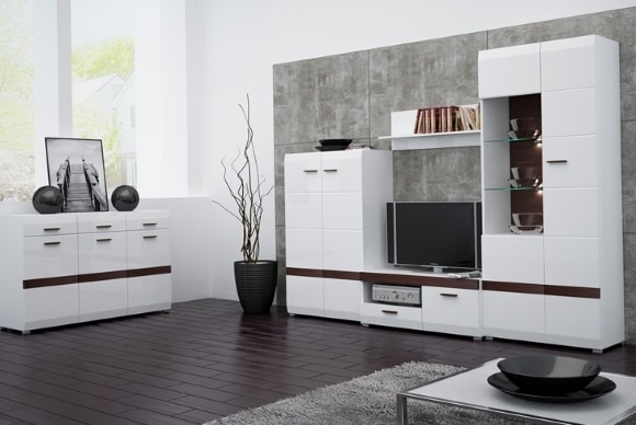 Модульная мебель белого цвета в гостиной комнате