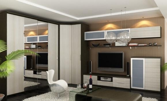 Модульная мебель для гостиной с угловым шкафом