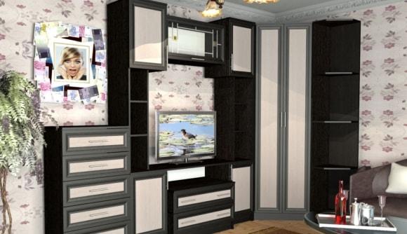 Модульная мебель для гостиной в современном стиле с угловым шкафом