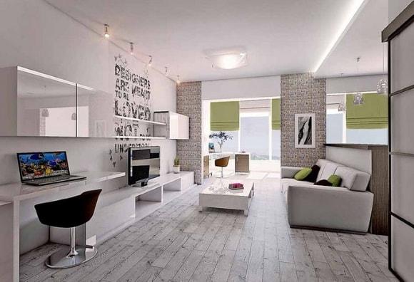 Модульная мебель с рабочим местом для гостиной комнаты