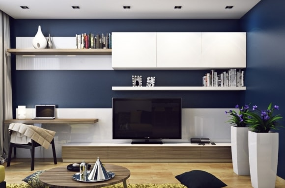 Модульная мебель с рабочим местом для гостиной