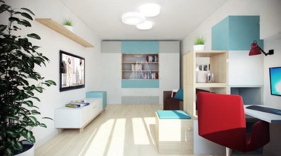 Модульная мебель с рабочим местом для современной гостиной