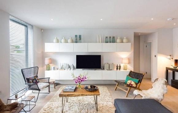 Подвесная модульная мебель для гостиной