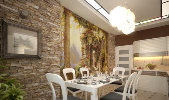 Декоративный камень в интерьере кухни фото
