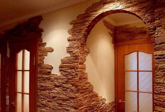 Отделка арок декоративным камнем в квартире своими руками