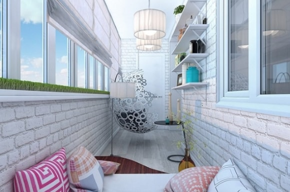 Отделка декоративным камнем балкона (лоджии) фото