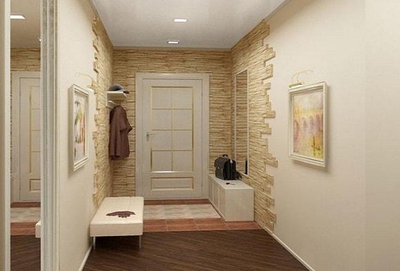 Отделка коридора искусственным камнем