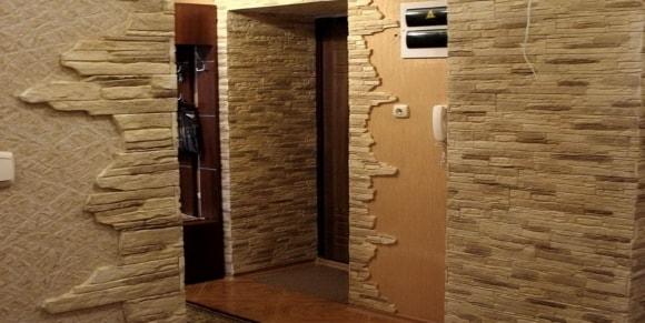 Отделка коридора облицовочным камнем фото