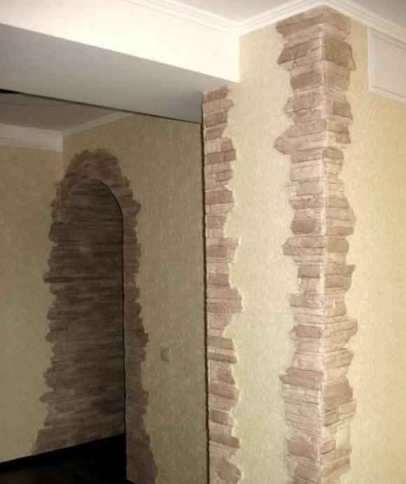 Отделка углов декоративным камнем в квартире фото