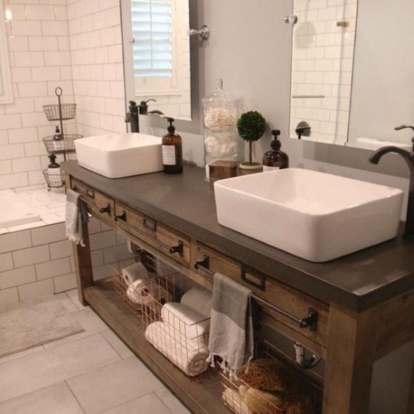 Дизайн ванной комнаты со столешницей