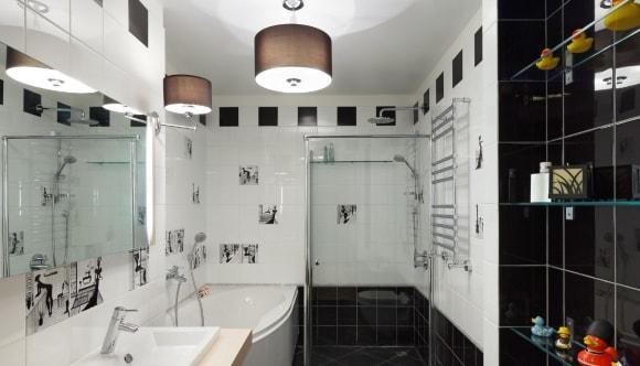 Ванная комната черно-белого цвета