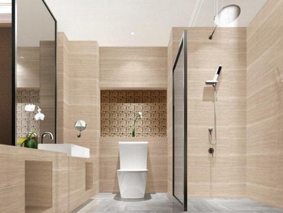 Ванная комната с душевой перегородкой из стекла
