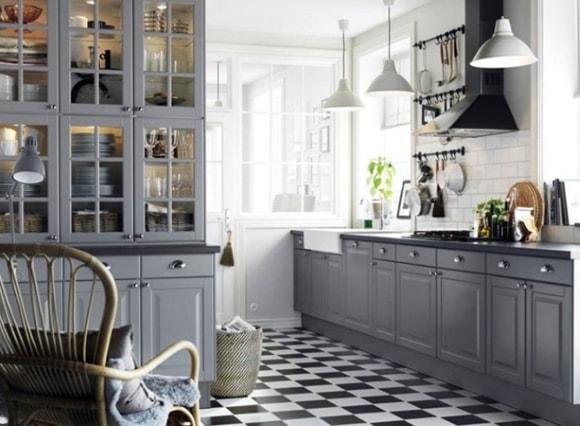 Дизайн кухни в сером цвете