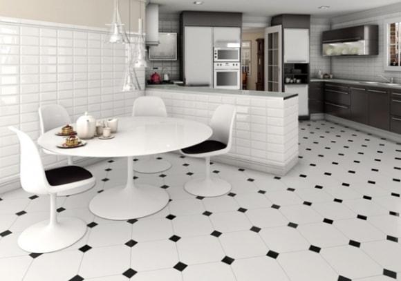 Вариант дизайна напольного кафеля на кухне