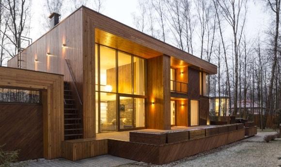 Деревянный дом в стиле лофт снаружи