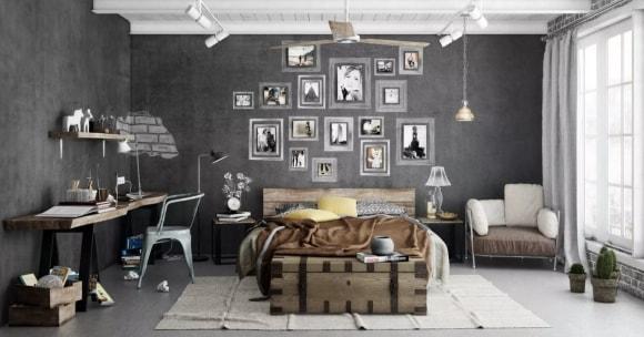 Фотографии и картины в рамке в интерьере стиля лофт