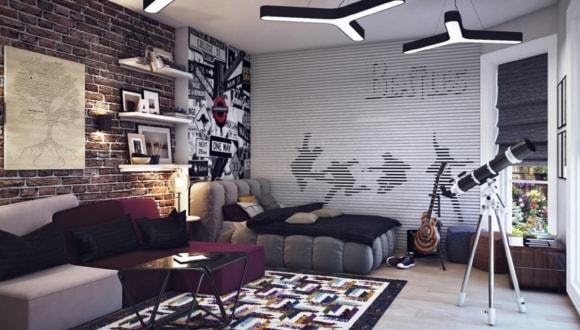 Комната подростка с кирпичной стеной в стиле лофт