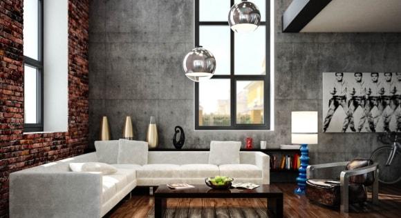 Коттедж с кирпичной стеной в стиле лофт