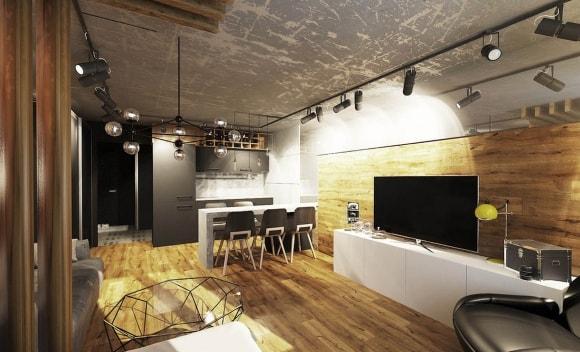Натяжной потолок под бетон в лофт-интерьере