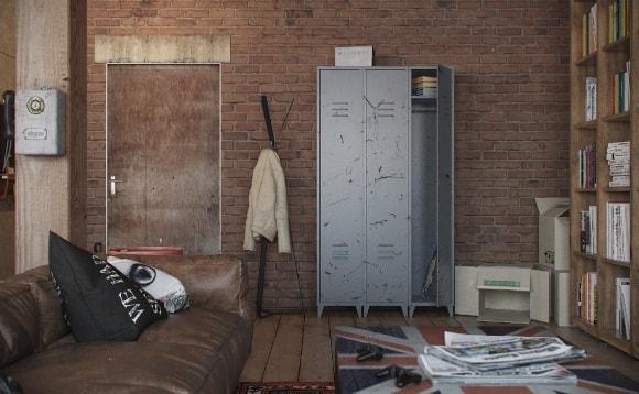 Однокомнатная квартира с кирпичной стеной в стиле лофт