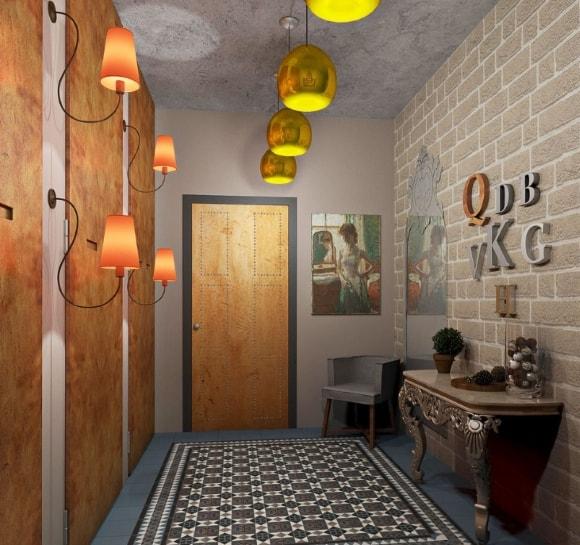 Прихожая с кирпичной стеной и светильниками под старину в стиле лофт