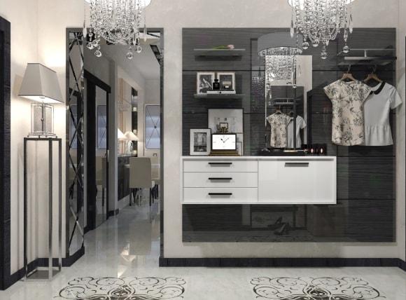 Прихожая в коридоре, выполненная в стиле арт-деко