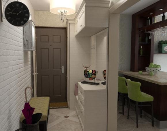 Прихожка со скамьей в коридоре