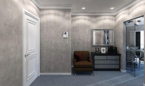 Серые жидкие обои в интерьере обычной квартиры