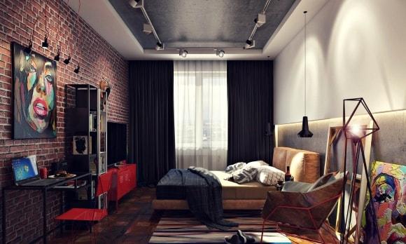 Спальня с кирпичной стеной в стиле лофт