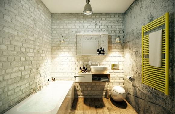 Стиль лофт в интерьере ванной и туалета