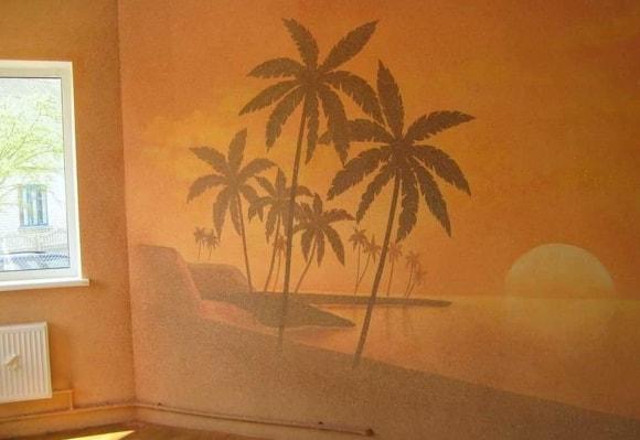 Тропические мотивы из жидких обоев